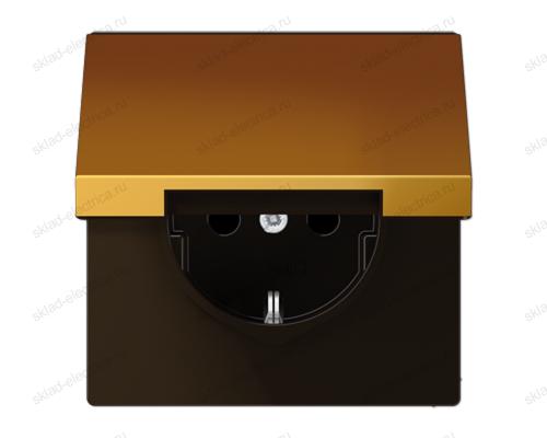 LSmetal Розетка с крышкой 2К+З 16А 250В~, металл цвета золота