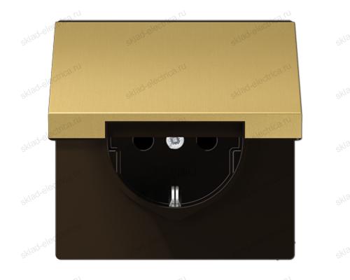 LSmetal Розетка с крышкой 2К+З 16А 250В~, латунь.