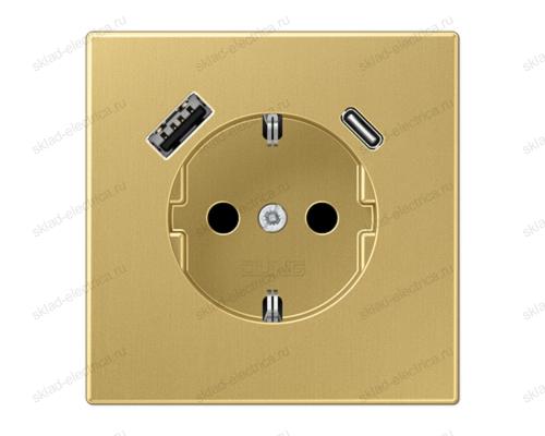 Розетка 2К+З 16А 250В~, с разъемом USB Typ AC