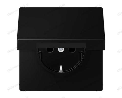 SCHUKO-розетка с крышкой цвет матовый черный