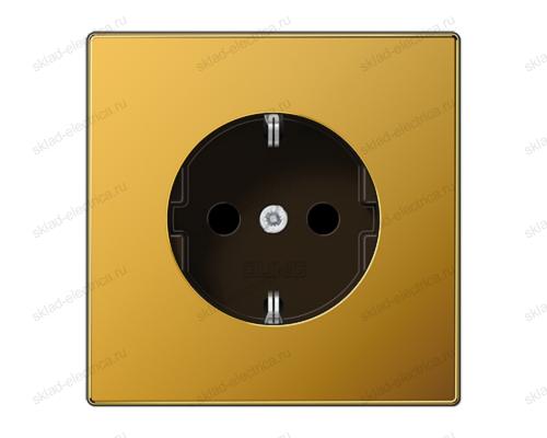 LSmetal Розетка 2К+З 16А 250В~, cо шторками, золото 24 карата