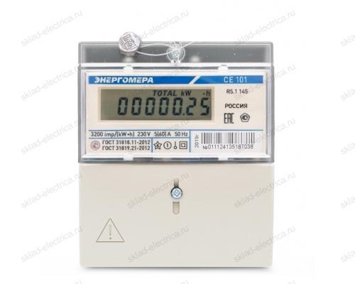 Счетчик электроэнергии однофазный однотарифный 5(60) CE101 R5.1 145 ЖКИ Энергомера