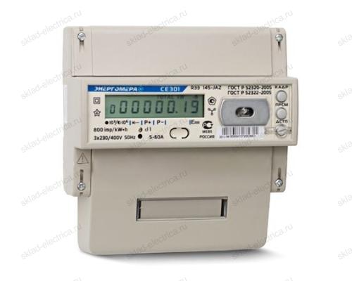 Счетчик электроэнергии трехфазный многотарифный 5(100) CE301 R33 146-JAZ ЖКИ RS485 оптопорт Энергомера