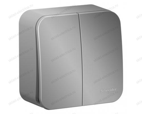 Выключатель 2-клавишный 10А, 250B, Schneider Blanca, с изолирующей пластиной, алюминий BLNVA105013
