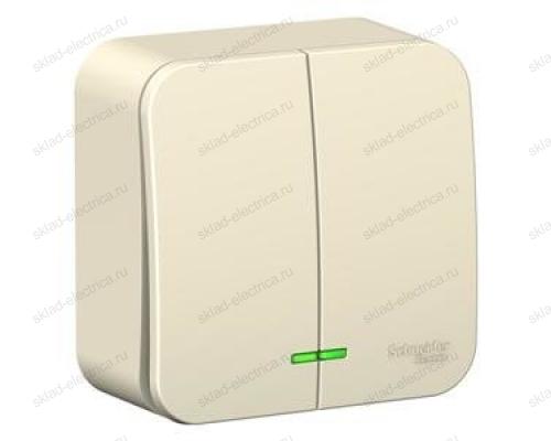 Выключатель 2-клавишный с подсветкой 10А,250B, Schneider Blanca, с изолирующей пластиной, молочный BLNVA105112