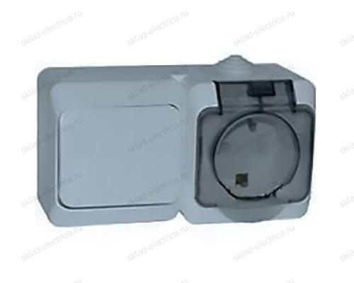 Блок: выключатель одноклавишный + розетка с заземлением IP44 Schneider Electric Этюд серый