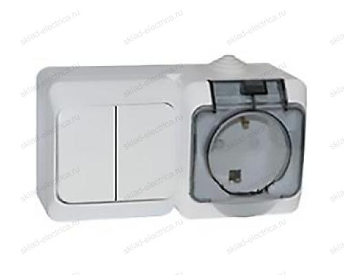 Блок: выключатель двухклавишный + розетка с заземлением IP44 Schneider Electric Этюд белый
