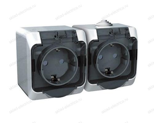 Блок из двух розеток с заземлением IP44 Schneider Electric Этюд белый