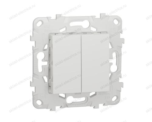 Выключатель двухклавишный 10А/250 В~ Schneider Unica New, белый NU521118