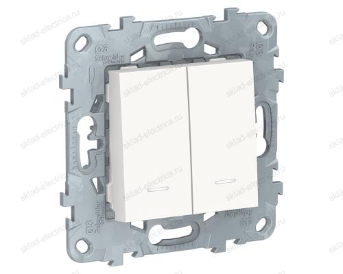 Выключатель двухклавишный с подсветкой 10А/250 В~ Schneider Unica New, белый NU521118N