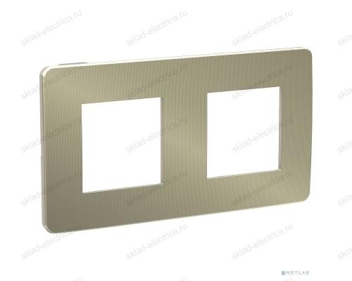 Рамка двойная Schneider Electric Unica Studio Metal, бронза-бежевый NU280451