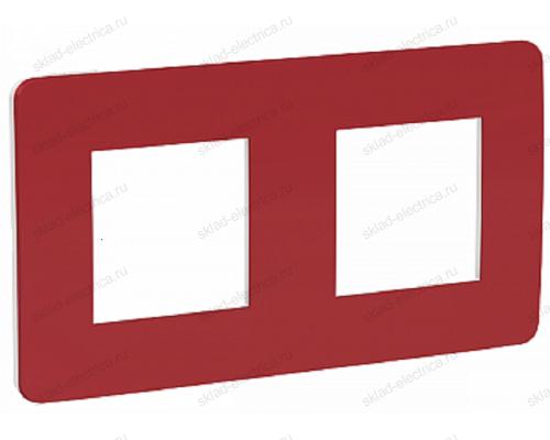 Рамка двойная Schneider Electric Unica Studio Color, красный-белый NU280413