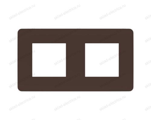 Рамка двойная Schneider Electric Unica Studio Color, шоколад-белый NU280416