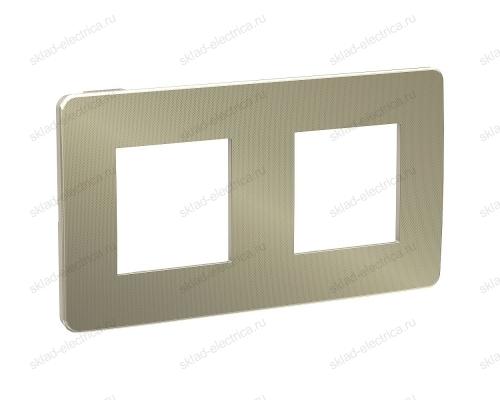 Рамка двойная Schneider Electric Unica Studio Metal, бронза-антрацит NU280452