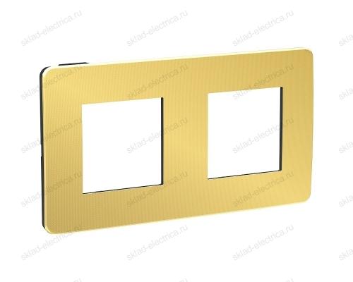 Рамка двойная Schneider Electric Unica Studio Metal, золото-антрацит NU280462