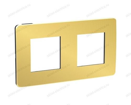 Рамка двойная Schneider Electric Unica Studio Metal, золото-бежевый NU280460