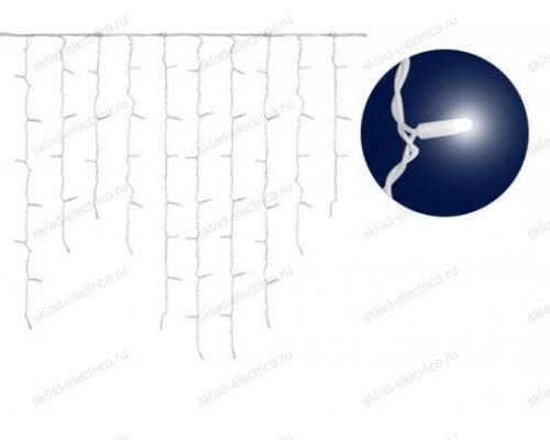 Бахрома светодиодная со статическим свечением. 3м. Соединяемая. 200 светодиодов. Синий свет. Провод белый.