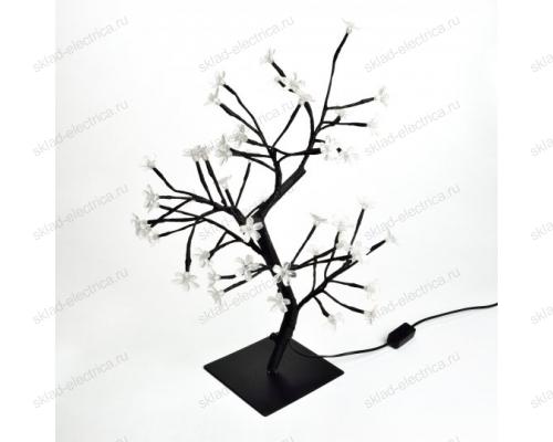 Дерево светодиодное Сакура. 45 см. 48 светодиодов. Розовый свет. Провод черный.