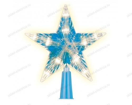 Украшение светодиодное для ёлки Звезда-2. 15см. на батарейках не в-к. 10 светодиодов. Теплый белый свет. Прозрачный провод.