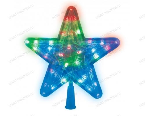 Украшение светодиодное для ёлки Звезда-1. 22 см. 30 светодиодов. Разноцветный свет. Прозрачный провод.