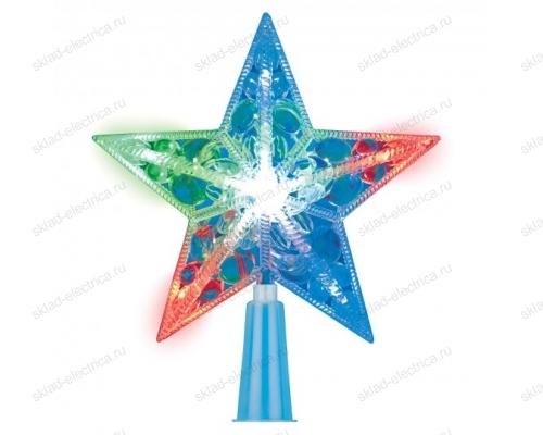 Украшение светодиодное для ёлки Звезда. 15см. 10 светодиодов. Разноцветный свет. Прозрачный провод.
