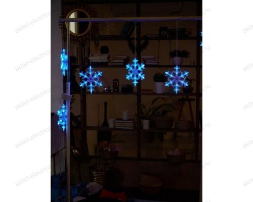 Занавес фигурный светодиодный. 1.5х0.3м. 72 светодиода. Синий свет. Провод прозрачный.