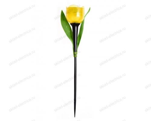 Usl-c-452-pt305 yellow tulip садовый светильник на солнечной батарее желтый тюльпан. белый свет. 1xlr аккумулятор в-к. ip44. tm uniel.