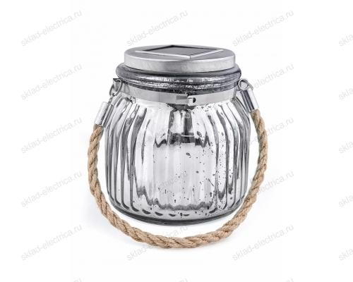 Usl-m-211-gn120 silver jar садовый светильник на солнечной батарее. теплый белый свет. 1xаа ni-mh аккумулятор в-к. ip44. tm uniel.