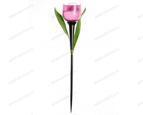 Usl-c-451-pt305 pink tulip садовый светильник на солнечной батарее розовый тюльпан. белый свет. 1xlr аккумулятор в-к. ip44. tm uniel.