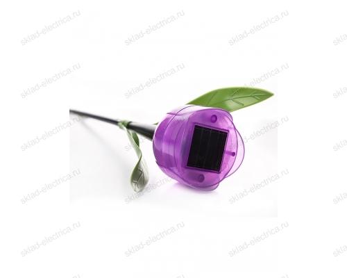 Usl-c-453-pt305 purple tulip садовый светильник на солнечной батарее лиловый тюльпан. белый свет. 1xlr аккумулятор в-к. ip44. tm uniel.