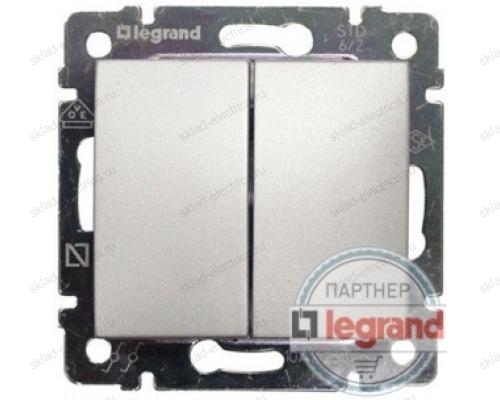 Выключатель двухклавишный Legrand Valena (Алюминий) 770105