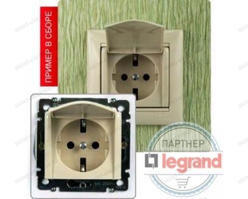 Розетка с заземляющим контактом и крышкой (2К+З IP-20) Legrand Valena (Сл. Кость) 774322