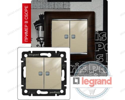 Выключатель двухклавишный с подсветкой Legrand Valena (Сл. Кость) 774328