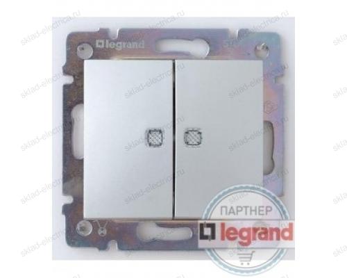 Проходной двухклавишный переключатель c подсветкой Legrand Valena (Алюминий) 770212