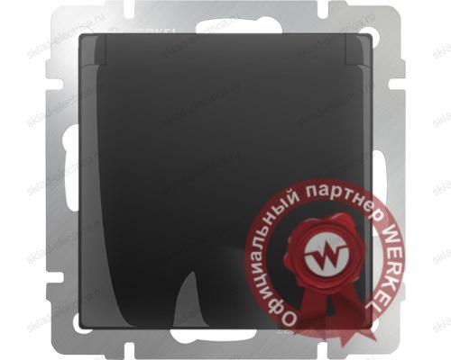 Розетка влагозащищенная с заземлением с защитной крышкой и шторками черная матовая Werkel a029865 WL08-SKGSC-01-IP44