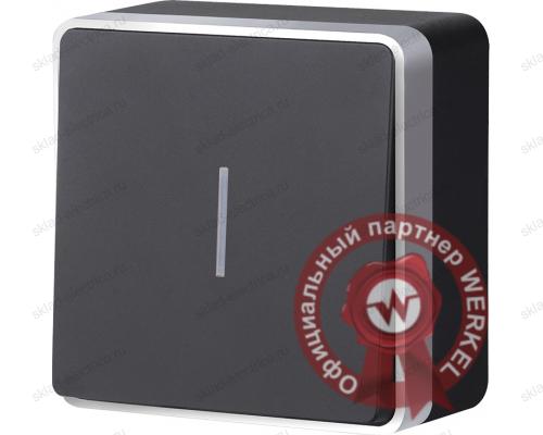 WL15-01-04 / Выключатель одноклавишный с подсветкой Gallant (черный с серебром)