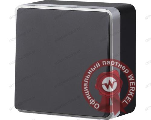 Выключатель одноклавишный черный с серебром Gallant a039641 WL15-01-01