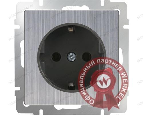 Розетка с заземлением глянцевый никель Werkel a034176 WL02-SKG-01-IP20