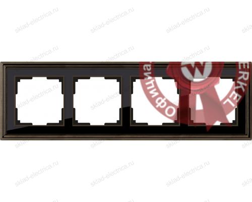 Рамка четверная Werkel Palacio бронза-черный a037690