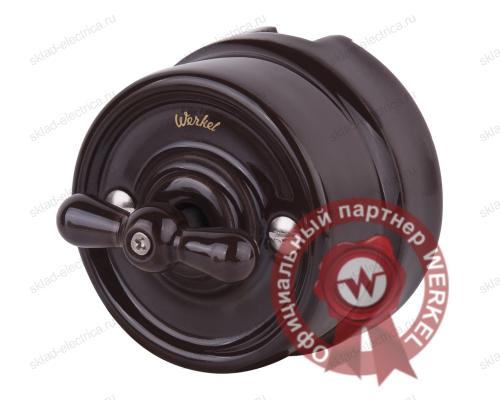 Выключатель поворотный двухклавишный Werkel Retro керамика, коричневый a036802 WL18-01-05
