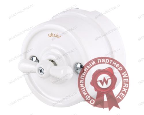 Выключатель поворотный двухклавишный Werkel Retro керамика, белый a036794 WL18-01-05