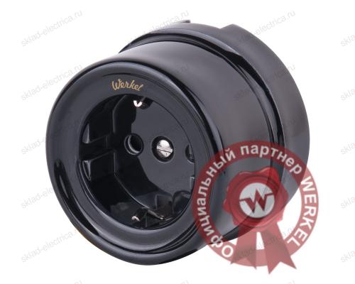 Розетка с заземлением и шторками (черный) Ретро a036816 WL18-03-02