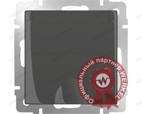 Розетка влагозащищенная с заземлением с крышкой и шторками серо-коричневая Werkel a029864 WL07-SKGSC-01-IP44