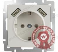 Розетка с заземлением, шторками и USBх2 слоновая кость Werkel a033476 WL03-SKGS-USBx2-IP20