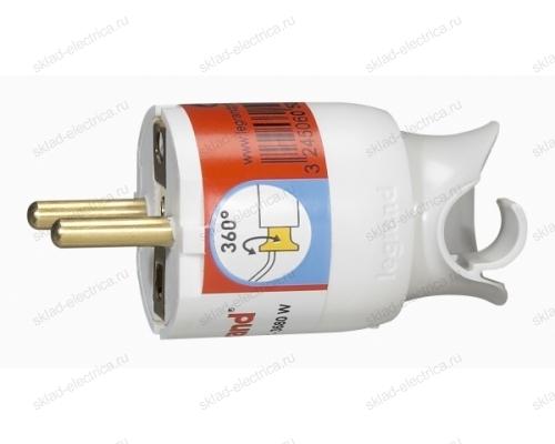 Legrand Элиум Белый Вилка 2Р+Е, 16А, с поворотным механизмом, пластик 50172
