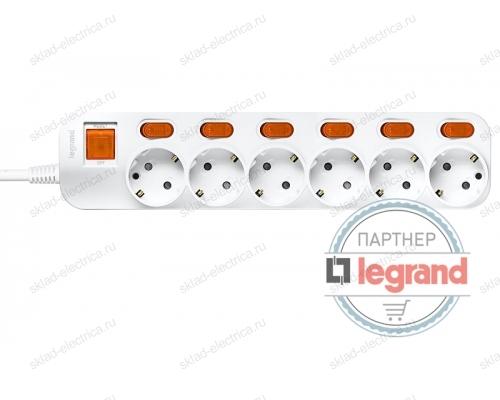 Удлинитель 6 постов Legrand Anam e-Fren с выключателем+ индивидуальным выкл, 4,5м, 16A L855962E4