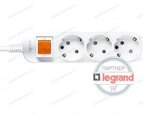 Удлинитель 3 поста Legrand Anam e-Fren с выключателем, 2,5м, 16A L855961B2