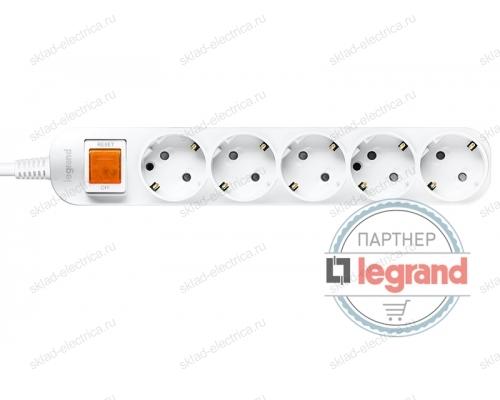 Удлинитель 5 постов Legrand Anam e-Fren с выключателем, 1,5м, 16A L855961D1