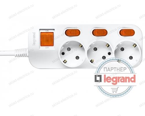 Удлинитель 3 поста Legrand Anam e-Fren с выключателем+ индивидуальным выкл, 2,5м, 16A L855962B2