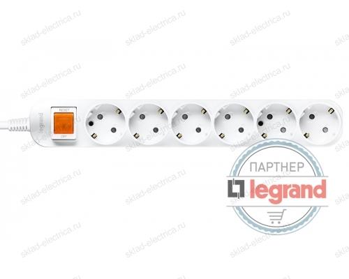 Удлинитель 6 постов Legrand Anam e-Fren с выключателем, 1,5м, 16A L855961E1